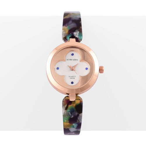 STRADA Japanese Movement Blue Austrian Crystal Studded White Dial Water Resistant Watch in Rose Gold Tone with Stainless Steel Back and Multi Colour Strap