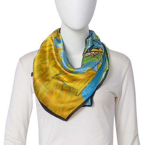 100% Mulberry Silk Green, Yellow, Blue and Multi Colour The Yellow House Printed Scarf (Size 86x86 Cm) (Weight 35 Gms)