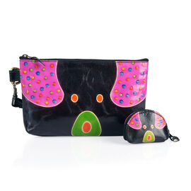 Set of 2 - Genuine Leather Black and Multi Colour Dog Pattern Handbag (Size 20x13 Cm) with Adjustable Strap and Coin Pouch (Size 7x5 Cm)