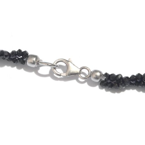Boi Ploi Black Spinel (Rnd) Beads Necklace (Size 20) in Sterling Silver 95.000 Ct. Silver weight 21.87 gram