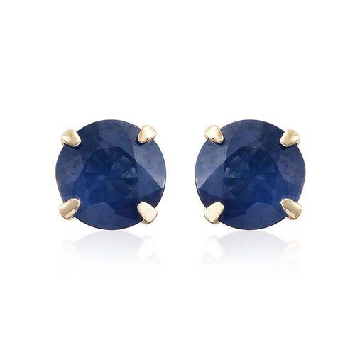 9K Yellow Gold 1 Carat AA Kanchanaburi Blue Sapphire Solitaire Stud Earrings (with Push Back)