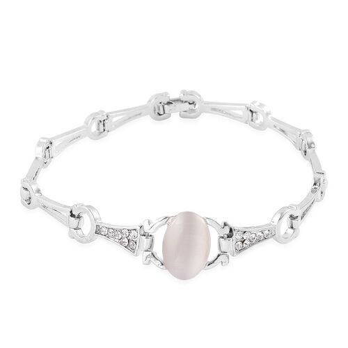 Simulated White Cats Eye and White Austrian Crystal Bracelet (Size 7.5) in Silver Tone