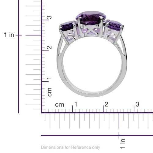 Uruguayan Amethyst (Ovl 4.00 Ct) 3 Stone Ring in Platinum Overlay Sterling Silver 6.000 Ct.