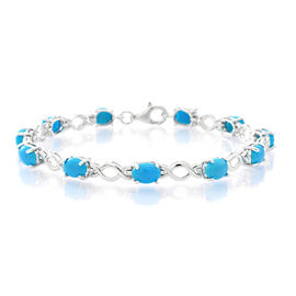 Arizona Sleeping Beauty Turquoise (Ovl) Bracelet (Size 7.75) in Rhodium Plated Sterling Silver 7.000 Ct.