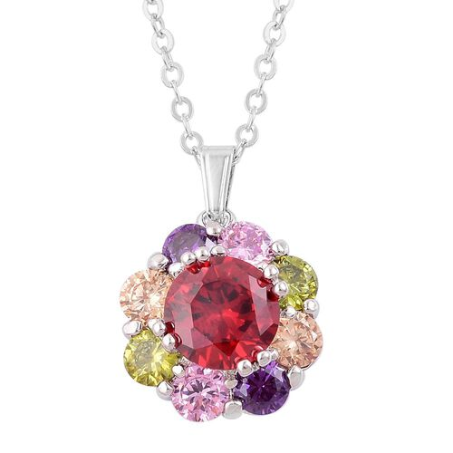 AAA Simulated Multi Colour Diamond Flower Pendant with Chain (Size 22) and Stud Earrings in Silver Tone