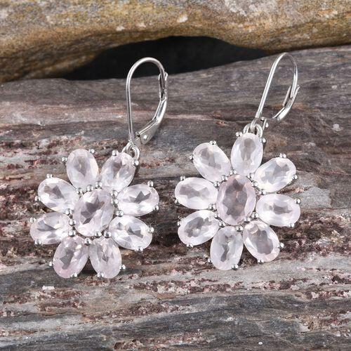 Rose Quartz (Ovl) Floral Lever Back Earrings in Platinum Overlay Sterling Silver 13.750 Ct.