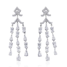 Designer Inspired - ELANZA AAA Simulated White Diamond (Pear) Earrings (with Push Back) in Rhodium Plated Sterling Silver, Silver wt 8.00 Gms.