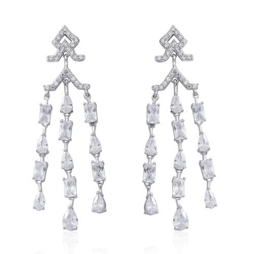 ELANZA AAA Simulated White Diamond (Pear) Earrings (with Push Back) in Rhodium Plated Sterling Silver, Silver wt 8.00 Gms.
