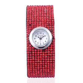STRADA Japanese Movement White Dial Water Resistant Watch in Silver Tone with Stainless Steel Back and Red Austrian Crystals Embellished Velvet Strap