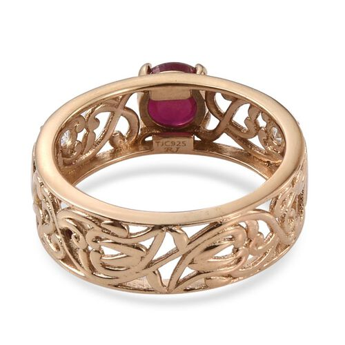 Royal Jaipur African Ruby (Rnd 1.75 Ct), Burmese Ruby and White Topaz Ring in 14K Gold Overlay Sterling Silver 2.030 Ct.