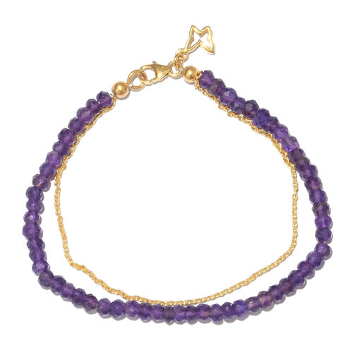Amethyst (Rnd) Bracelet (Size 7.5) with Butterfly Charm in Yellow Gold Overlay Sterling Silver 22.400 Ct.