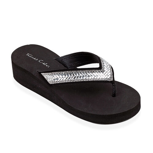 Deluxe Sparkle Wedge Baguette Crystal Flip Flop- Black - 38