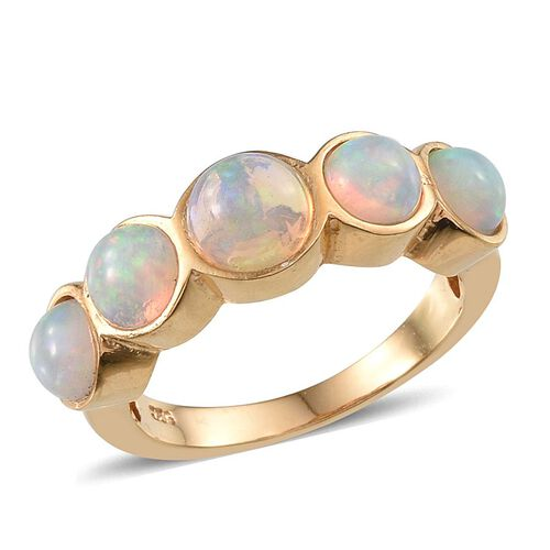 Ethiopian Welo Opal (Rnd 0.60 Ct) 5 Stone Ring in 14K Gold Overlay Sterling Silver 2.000 Ct.