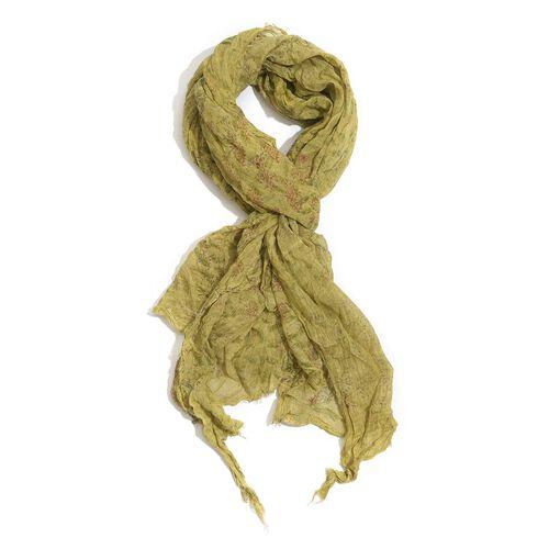 100% Cotton Multi Colour Flowers Printed Golden Colour Scarf (Size 220x100 Cm)