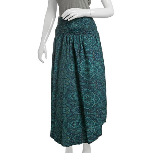 Shirred Midi Bell Dress - Green, Navy and Multi Colour Printed (Free Size)