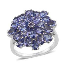 Tanzanite (4.25 Ct) Platinum Overlay Sterling Silver Ring  4.250  Ct.