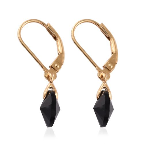 J Francis Crystal from Swarovski - Jet Colour Crystal (Rnd) Lever Back Earrings in 14K Gold Overlay Sterling Silver