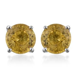 Collectors Edition - RHAPSODY 950 Platinum Very Rare AAAA Chanthaburi Yellow Sapphire (Rnd) Stud Earrings (with Screw Back) 2.250 Ct.