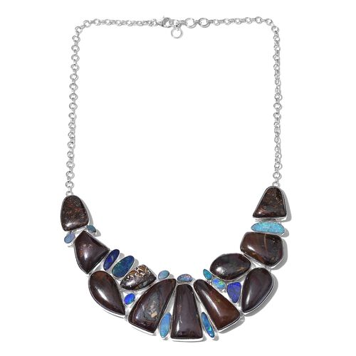Boulder Opal Rock and Opal Double Necklace (Size 18 with 1 inch Extender) in Sterling Silver 270.550 Ct.