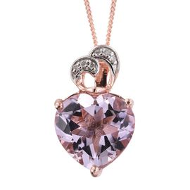 GP Rose De France Amethyst (Hrt), Kanchanaburi Blue Sapphire and Diamond Pendant with Chain in Rose Gold Overlay Sterling Silver 5.250 Ct.