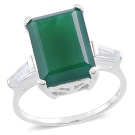 Verde Onyx (Oct 7.00 Ct), White Topaz Ring in Sterling Silver 7.500 Ct.