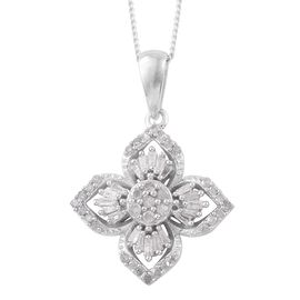 Diamond (Rnd) Floral Pendant with Chain in Platinum Overlay Sterling Silver 0.330 Ct.