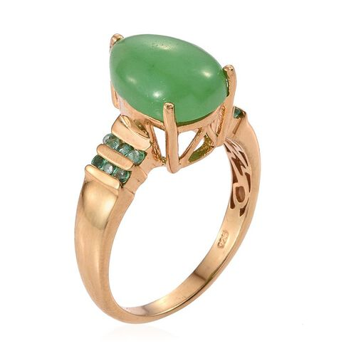 Green Jade (Pear 6.00 Ct), Kagem Zambian Emerald Ring in 14K Gold Overlay Sterling Silver 6.250 Ct.