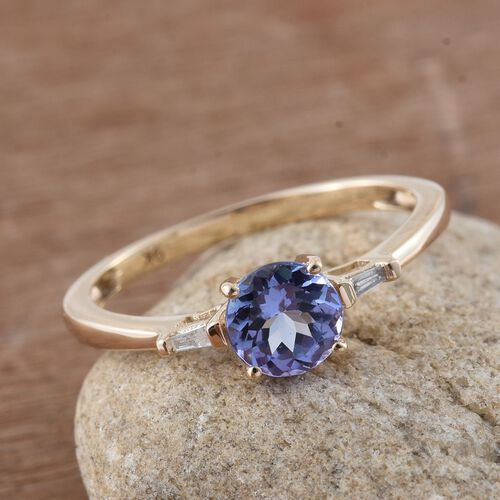 9K Yellow Gold 1 Carat AA Tanzanite with Diamond Ring