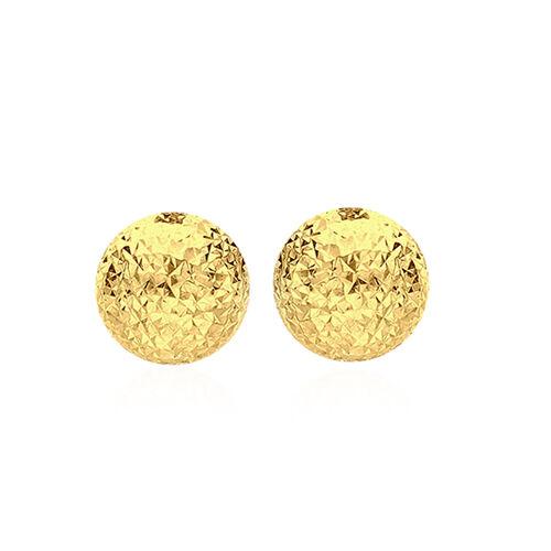 JCK Vegas Collection 9K Yellow Gold Diamond Cut Half Ball Stud Earrings (with Push Back)
