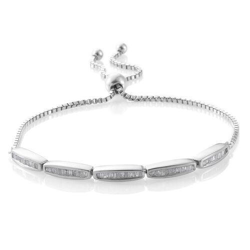 Today Special Deal- Diamond (Bgt) Adjustable Bracelet (Size 6.5 to 8.5) in Platinum Overlay Sterling Silver 0.500 Ct.