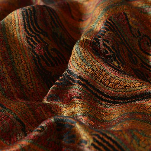 100% Superfine Silk Orange and Black Colour Jacquard Jamawar Shawl with Paisley Motifs and Fringes (Size 185x70 Cm) (Weight 125 - 140 Grams)