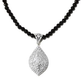 Boi Ploi Black Spinel Beads Necklace (Size 20) with Pendant in Sterling Silver 45.000 Ct.