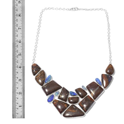 Australian Boulder Opal Rock and Opal Double Necklace (Size 18) in Sterling Silver 301.650 Ct.