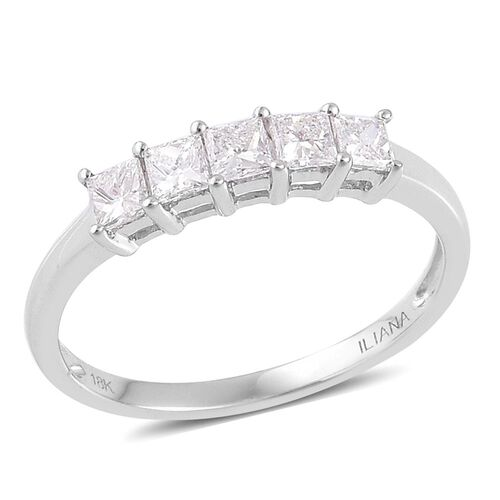 ILIANA 18K White Gold 0.50 Carat Princess Cut Diamond 5 Stone Ring, SI G-H, IGI Certified