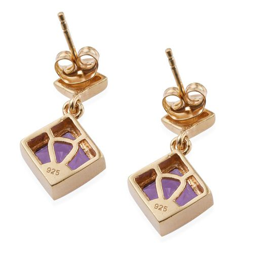 Lavender Alexite (Sqr) Earrings (with Push Back) in 14K Gold Overlay Sterling Silver 3.000 Ct.