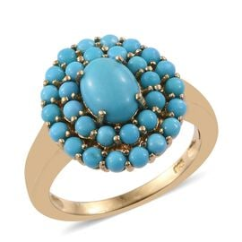 Sleeping Beauty Turquoise 2.50 Carat Silver Cluster Ring In Gold Overlay