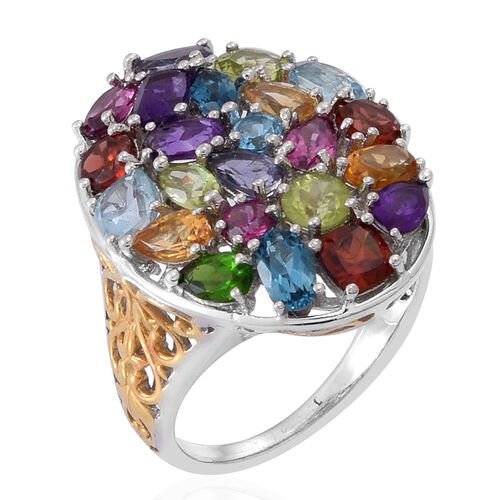 AA Lusaka Amethyst (Cush), Sky Blue Topaz, Mozambique Garnet, Hebei Peridot, Rhodlite Garnet, London Blue Topaz, Madeira Citrine and Multi Gem Stone Ring in Rhodium Plated Sterling Silver 5.982 Ct.