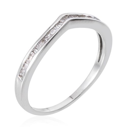 Diamond (Bgt) Wishbone Ring in Platinum Overlay Sterling Silver 0.250 Ct.