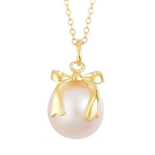 South Sea White Pearl (Rnd 11-12mm) Bowknot Pendant with Chain in Yellow Gold Overlay Sterling Silver