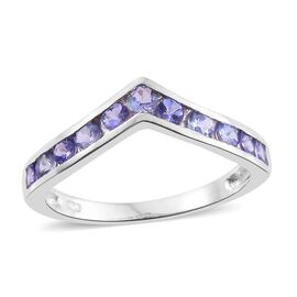 Tanzanite (Rnd) Wishbone Ring in Platinum Overlay Sterling Silver 1.000 Ct.