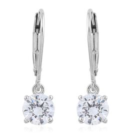 Super Bargain Price Deal-J Francis - Platinum Overlay Sterling Silver (Rnd 6mm) Lever Back Earrings Made with SWAROVSKI ZIRCONIA