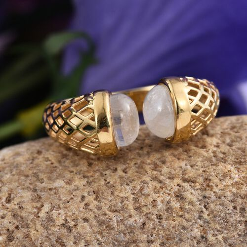 Natural Rainbow Moonstone (Rnd) Ring in 14K Gold Overlay Sterling Silver 4.250 Ct.