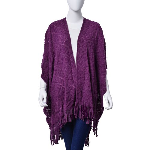 Checks Pattern Plum Colour Kimono with Tassels (Size 95x75 Cm)