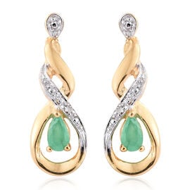 Kagem Zambian Emerald, Diamond 0.40 Ct Silver Earrings (with Push Back) in Gold Overlay
