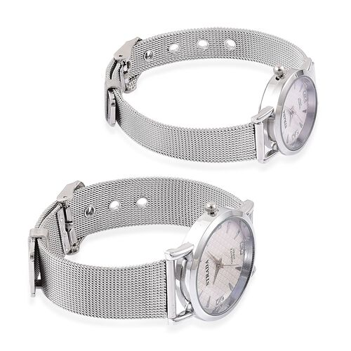 Set of 2 - STRADA Japanese Movement White Austrian Crystal Studded White Dial Watch in Silver Tone with Stainless Steel Back