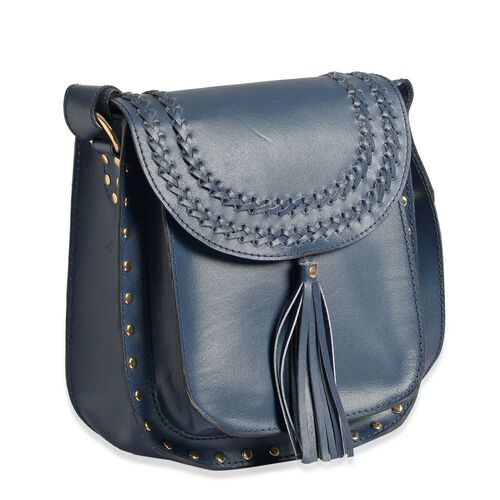 Genuine Leather Navy Blue Colour Crossbody Bag with Shoulder Strap