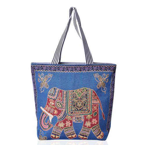 Set of 2 - Multi Colour Elephant Pattern Blue Colour Large Handbag (Size 43x39x10.5 Cm) and Multi Colour Sailling Pattern Beige Colour Small Handbag with External Zipper Pocket (Size 43x33x11.5 Cm)