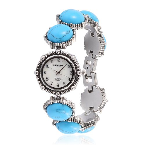 STRADA Japanese Movement White Dial Water Resistant Watch in Silver Tone With Stainless Steel Back and Blue Howlite Strap 100.000 Ct.
