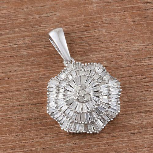 Ballerina Diamond Pendant in Platinum Overlay Sterling Silver 1.150 Ct.