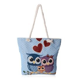 Lovely Owl Family Pattern Large Tote Bag (Size 43x37x32.5x11 Cm)